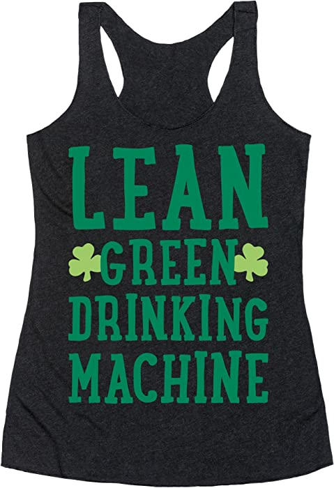 486a3c6cebf88 LookHUMAN Lean Green Drinking Machine White Print Small Heathered Black  Women s Racerback Tank