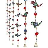 Jaipuri Haat Parrot Mirror Work Door Hanging Metal Tapestry Artificial Beads - Set Of 2