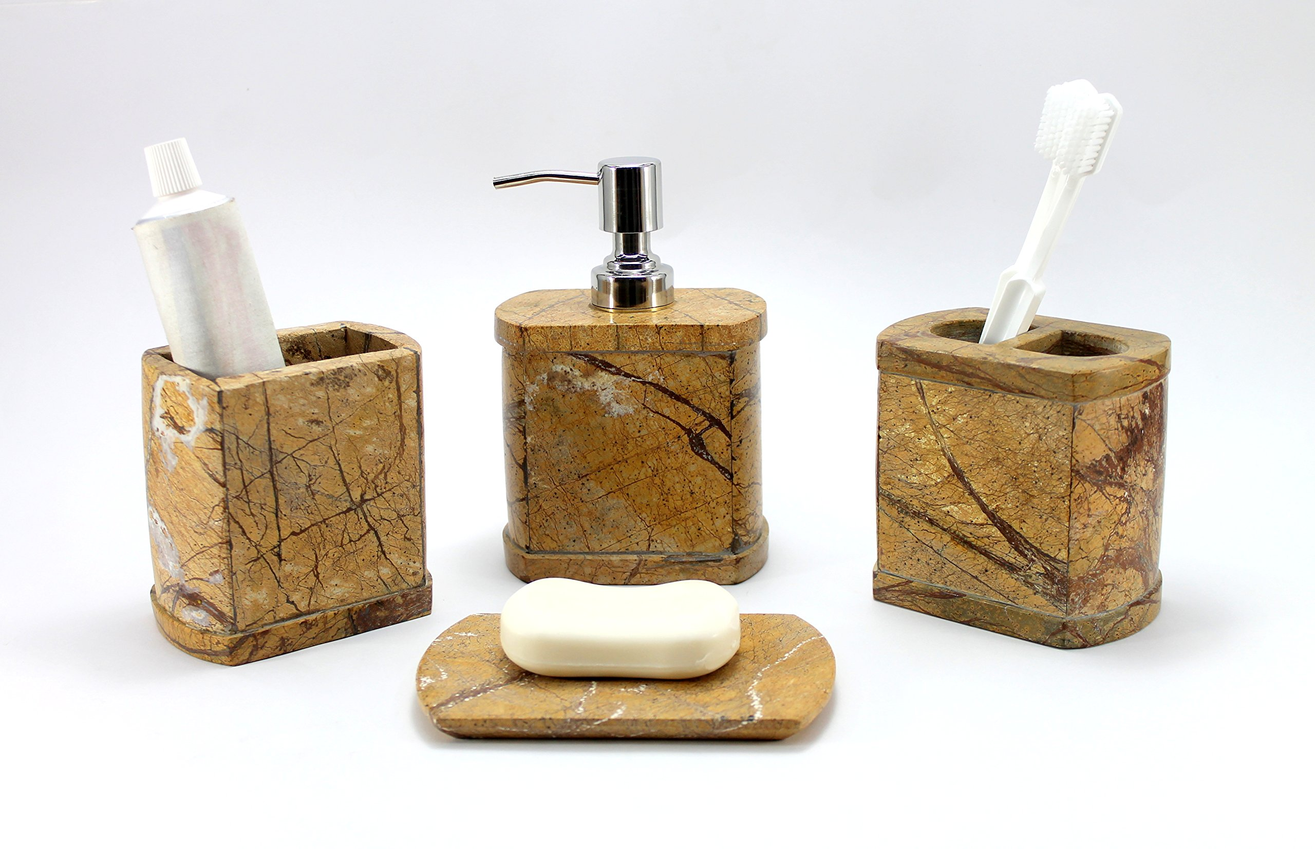 KLEO - Bathroom Accessory Set Made From Natural Brown Stone - Bath Accessories