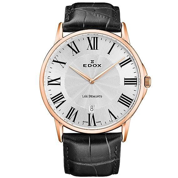 Edox Les Bemonts 56001 37R AR - Reloj de cuarzo para hombre, correa de piel