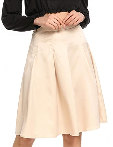 f597e55bc Zeagoo Women's Elegant High Waisted Solid Knee Length Flare Skater A Line  Skirts Apricot S
