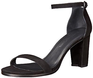 Stuart Weitzman Women's Nearlynude Heeled Sandal, Black, ...