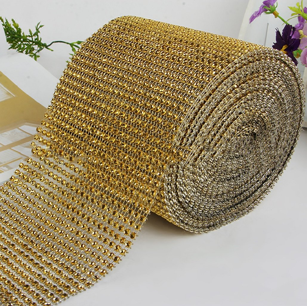 Wrisky Diamond Mesh Wrap Roll Cake Rhinestone Wedding Ribbon Favor Decor Party (Gold)