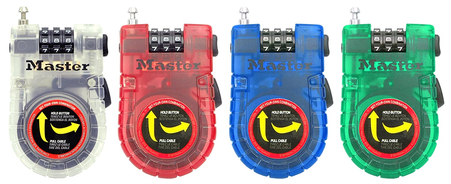 Assorted Colors Long 3 ft Set Your Own Combination Bike Lock 4605D 3 Pack Master Lock Cable Lock