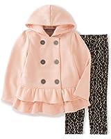 Calvin Klein Baby Girls' Hooded Ruffled Jacket with Leggings Set
