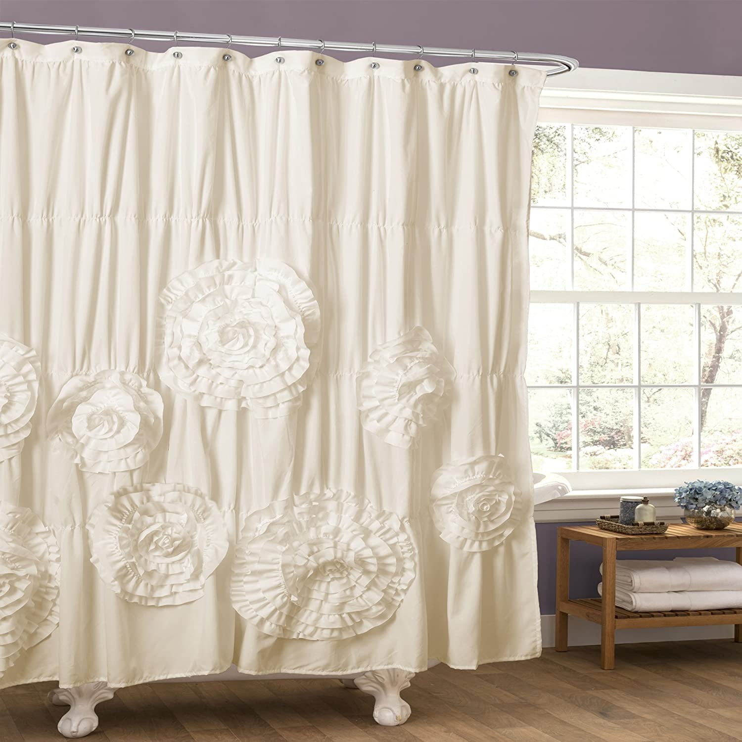 "Lush Decor Serena Shower Curtain Ruffled Floral Shabby Chic Farmhouse Style Bathroom Decor 72"" x 72"" Ivory"