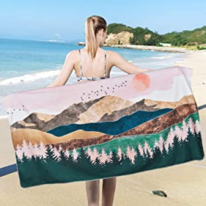 Pknoclan Mountain Beach Towel Sunset Beach Towel Oversized, Nature Landscape Forest Tree Beach Blanket, Absorbent Large Hand Towels for Bathroom, Hotel, Gym, Spa, Pool, Swim, 31.5 x 59 inches, Pink