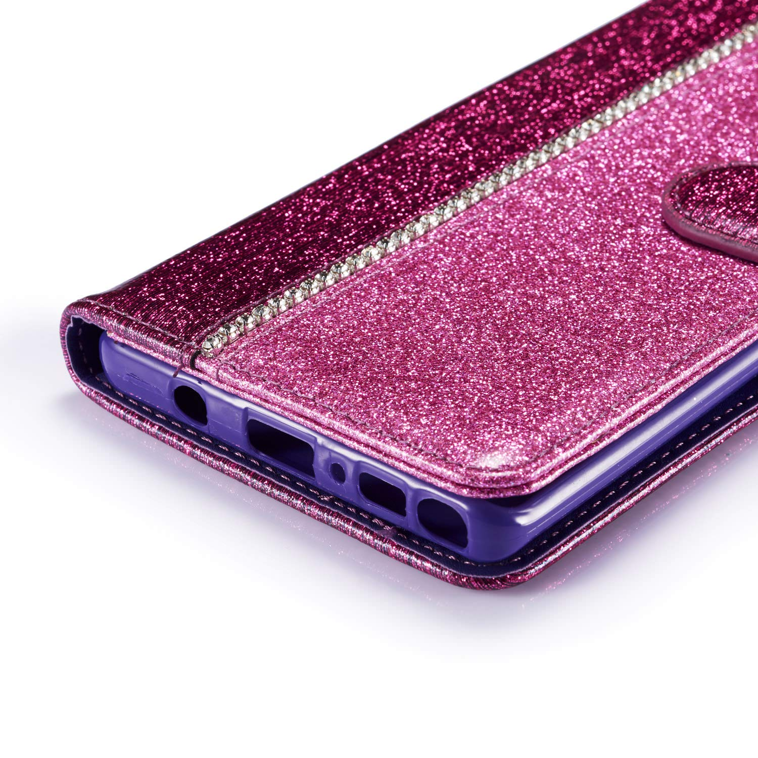 ZCXG Kompatibel mit Samsung Galaxy Note 9 H/ülle Glitzer Gold Handyh/ülle Leder Magnet Flip Cover Schwarz Silikon H/ülle Innere Tasche D/ünn mit Kartenfach Brieftasche M/ädchen Klappbar Case