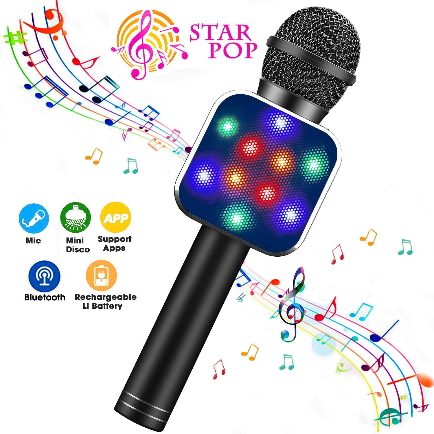 BlueFire Wireless Bluetooth Karaoke Microphone 5 in 1 Handheld Karaoke Microphone with LED Lights Perfect Gifts Toys for 4-12 Year Old Girls Boys Pink Portable Microphone for Kids