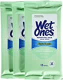 Wet Ones Moist Towelette For Sensitive Skin, Travel Pack, 15-Count (3 pack)