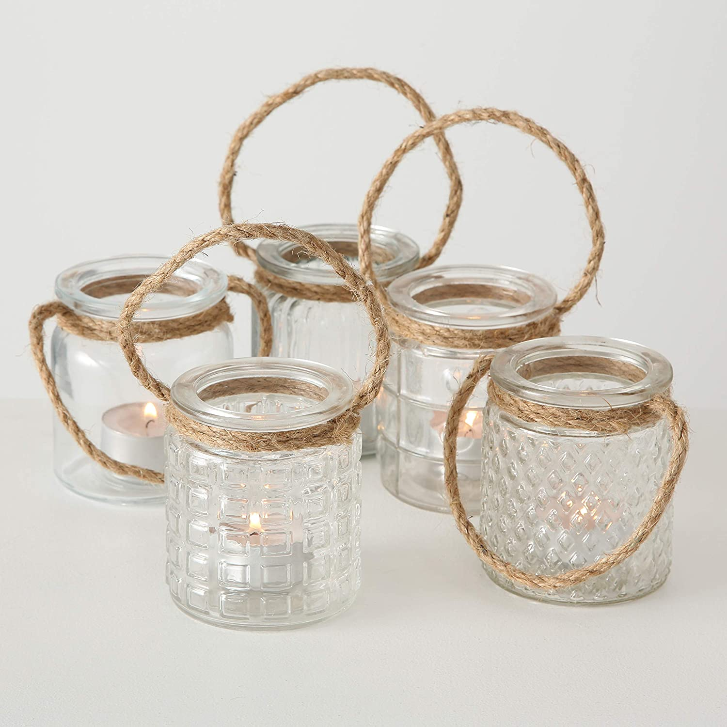 Set of 5 for LED or Wax Votive Wind Light 2 3//4 x 2 3//4 x 3 1//2 Inches Clear Glass Candle Holder Whole House Worlds Beach Chic Nautical Rope Hurricane Lamps Pillar or Tealights