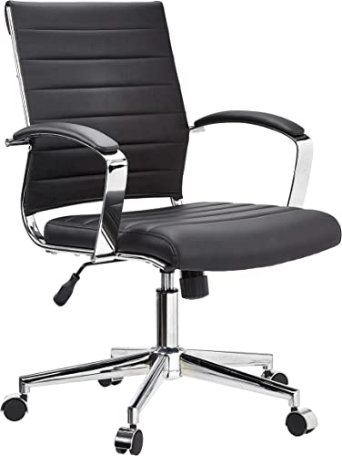 JC Home Mid Back Executive Office Chair, Black Vinyl