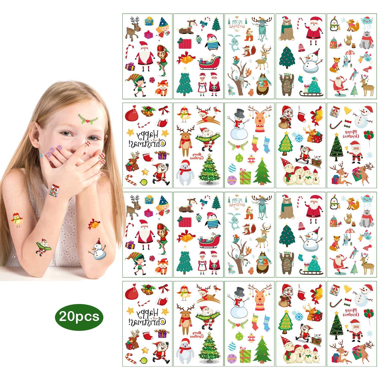 JEEZAO 20 Fogli Natalizi Decorazioni Tatuaggi Temporanei per Bambini Stickers,Babbo,Albero di Natale,Pupazzo di Neve Adesivi