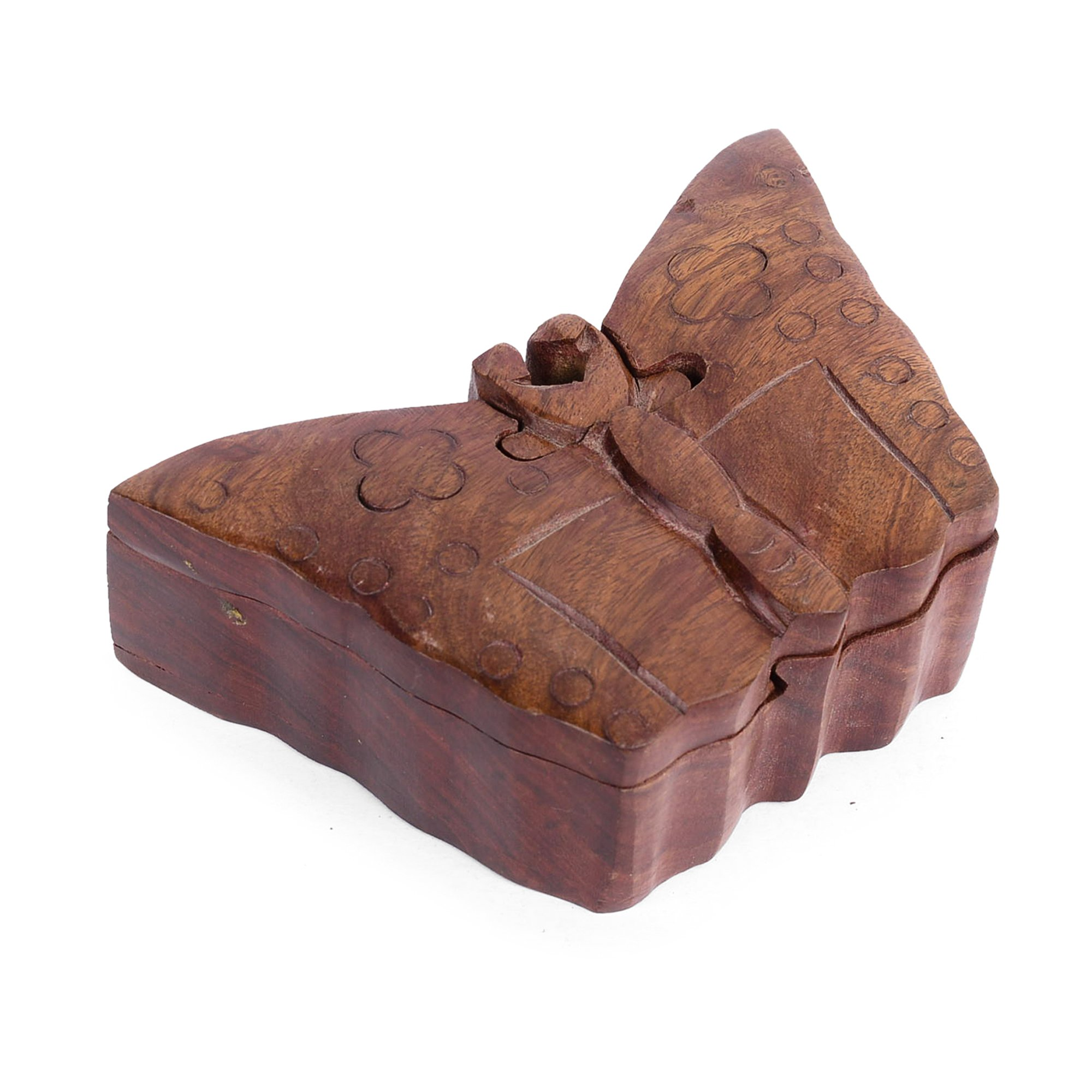Rusticity Wooden Puzzle Box - Butterfly | Handmade | (5.8x3.7 in)