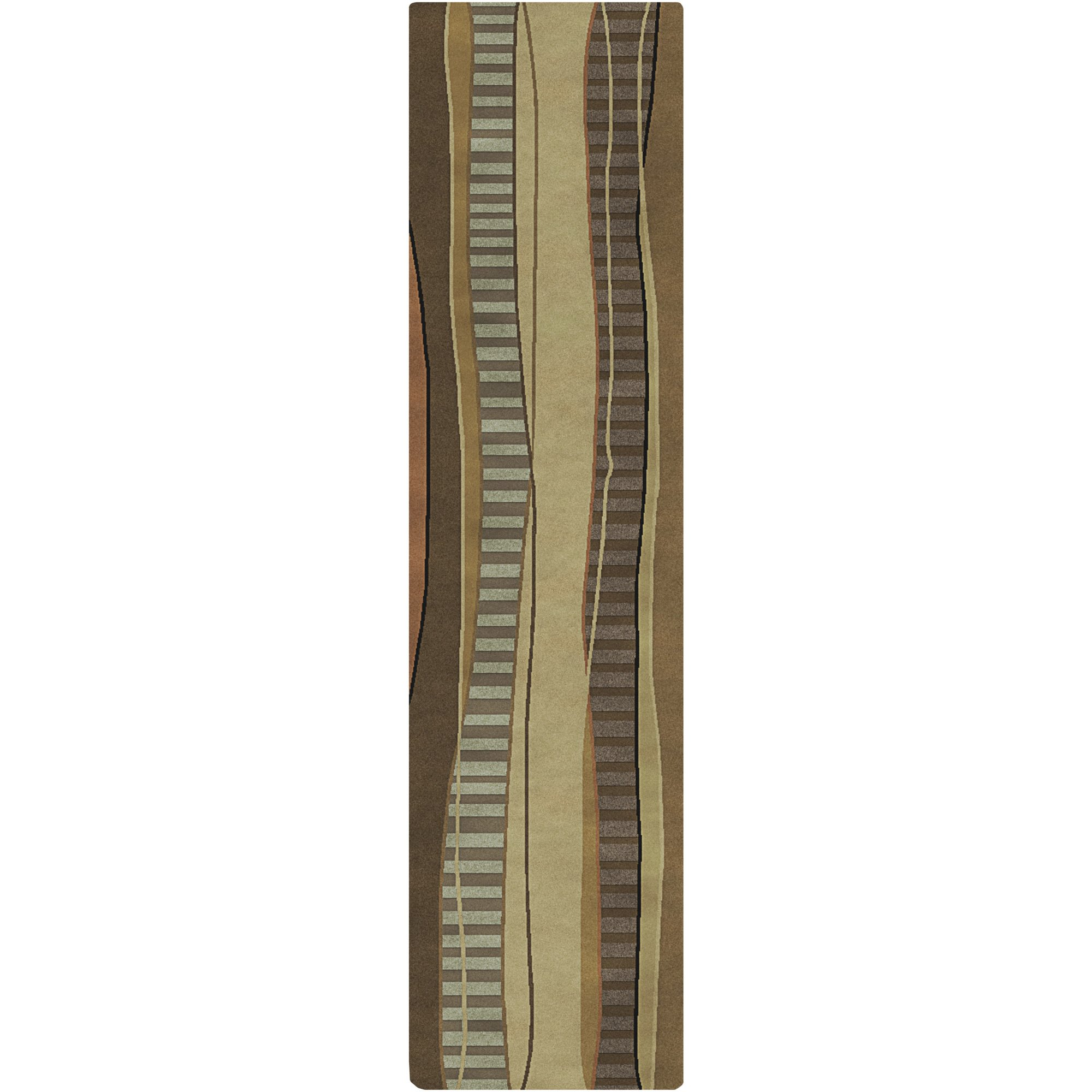 Surya Mugal IN-8020 Contemporary Hand Knotted 100% Semi-Worsted New Zealand Wool Driftwood Brown 2'6'' x 10' Abstract Runner by Surya