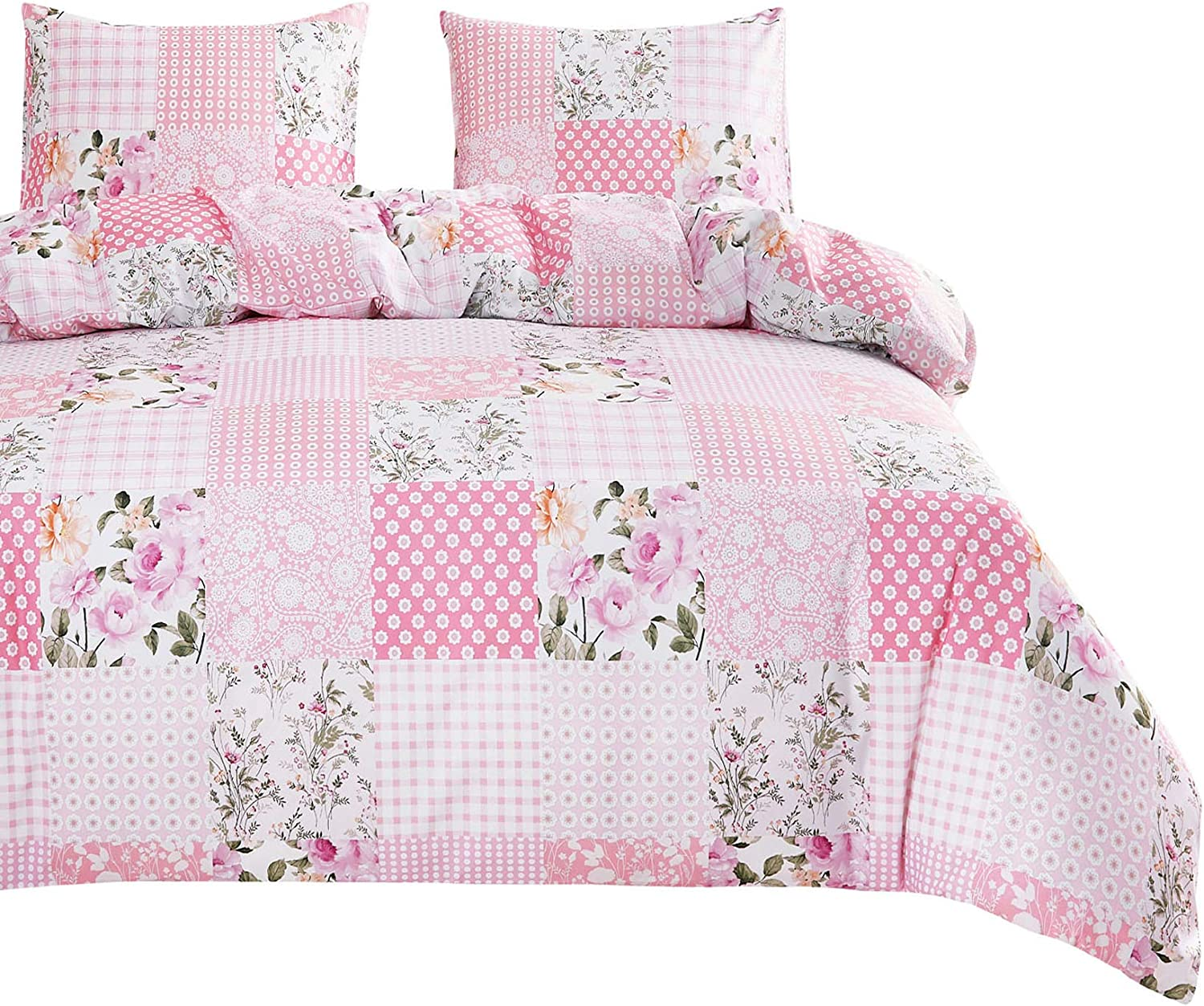Wake In Cloud - Patchwork Comforter Set, Pink Floral Flowers Botanical Plant Geometric Motif Pattern Printed, Soft Microfiber Bedding (3pcs, Queen Size)