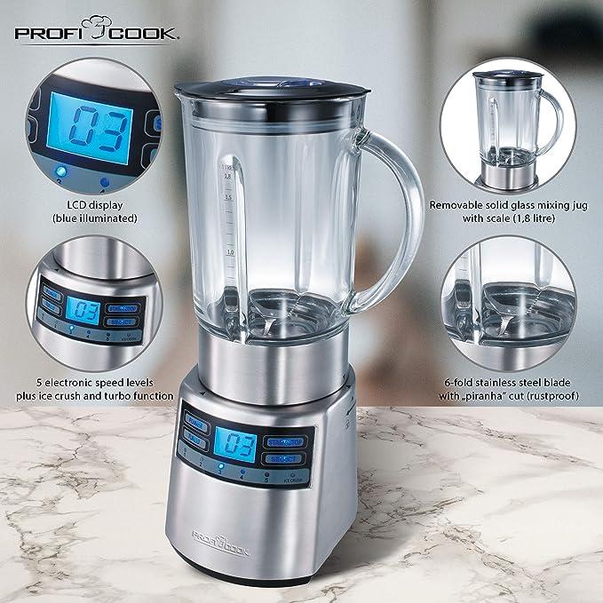 ProfiCook PC-UM 1006 Batidora de vaso, jarra de cristal 1,8 l ...