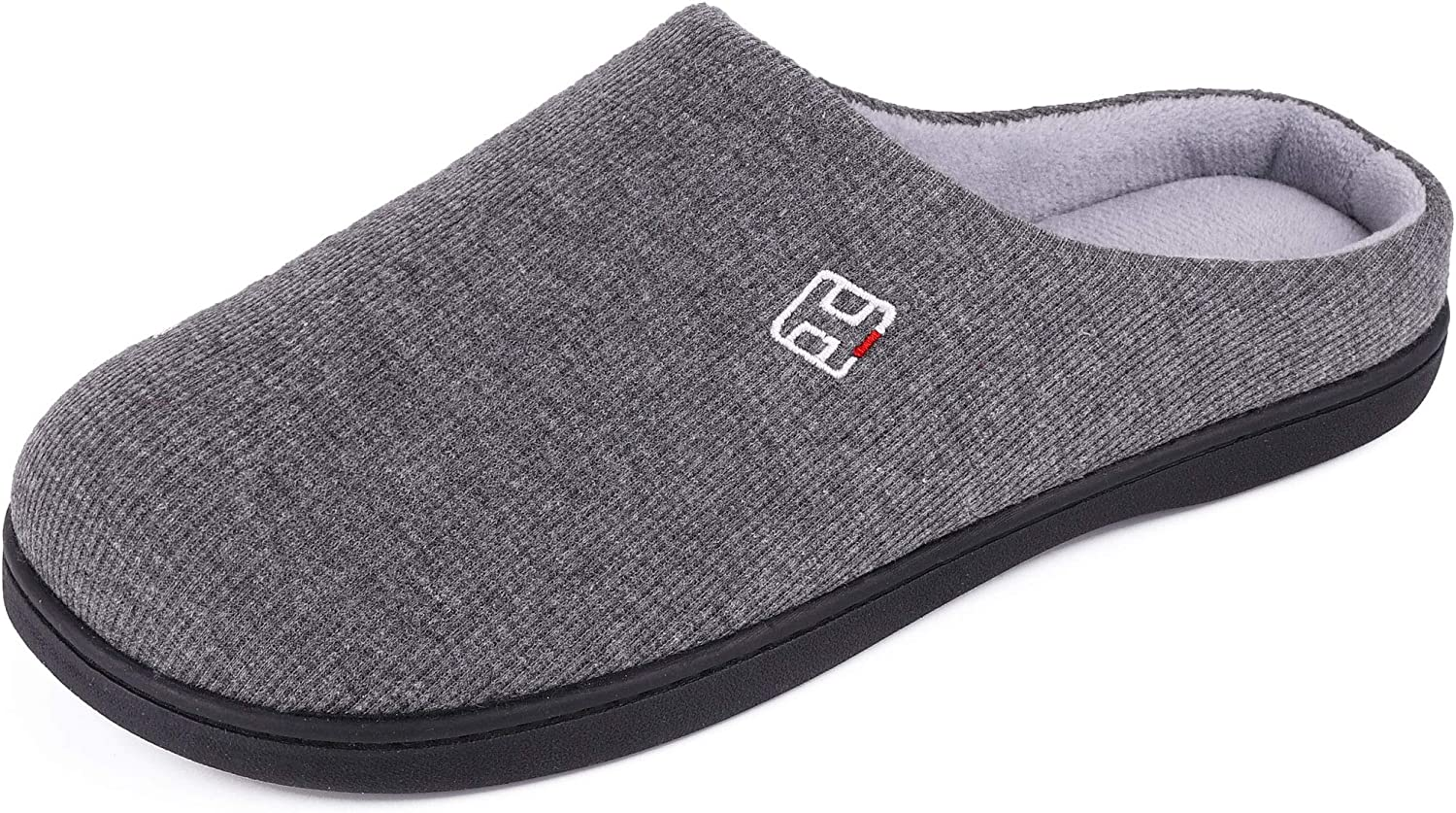 HomeIdeas Men's Classic Memory Foam House Slippers with Plush Lining, Autumn Winter Breathable Indoor/Outdoor Shoes