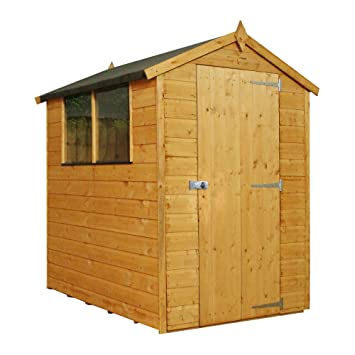 1878 6x4 Wooden Overlap Garden Tradesman Shed, Windows, Single Door,