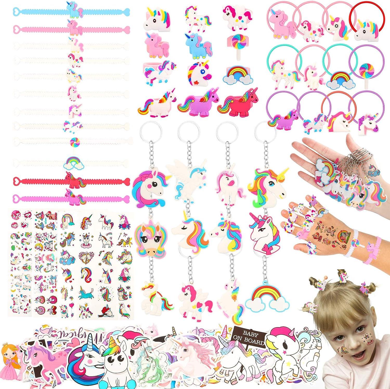 133PCS Regalo de cumpleaños de unicornio, llavero, anillos para el pelo, pegatinas, tatuajes para niños, piñata de unicornio, regalo de cumpleaños para niñas