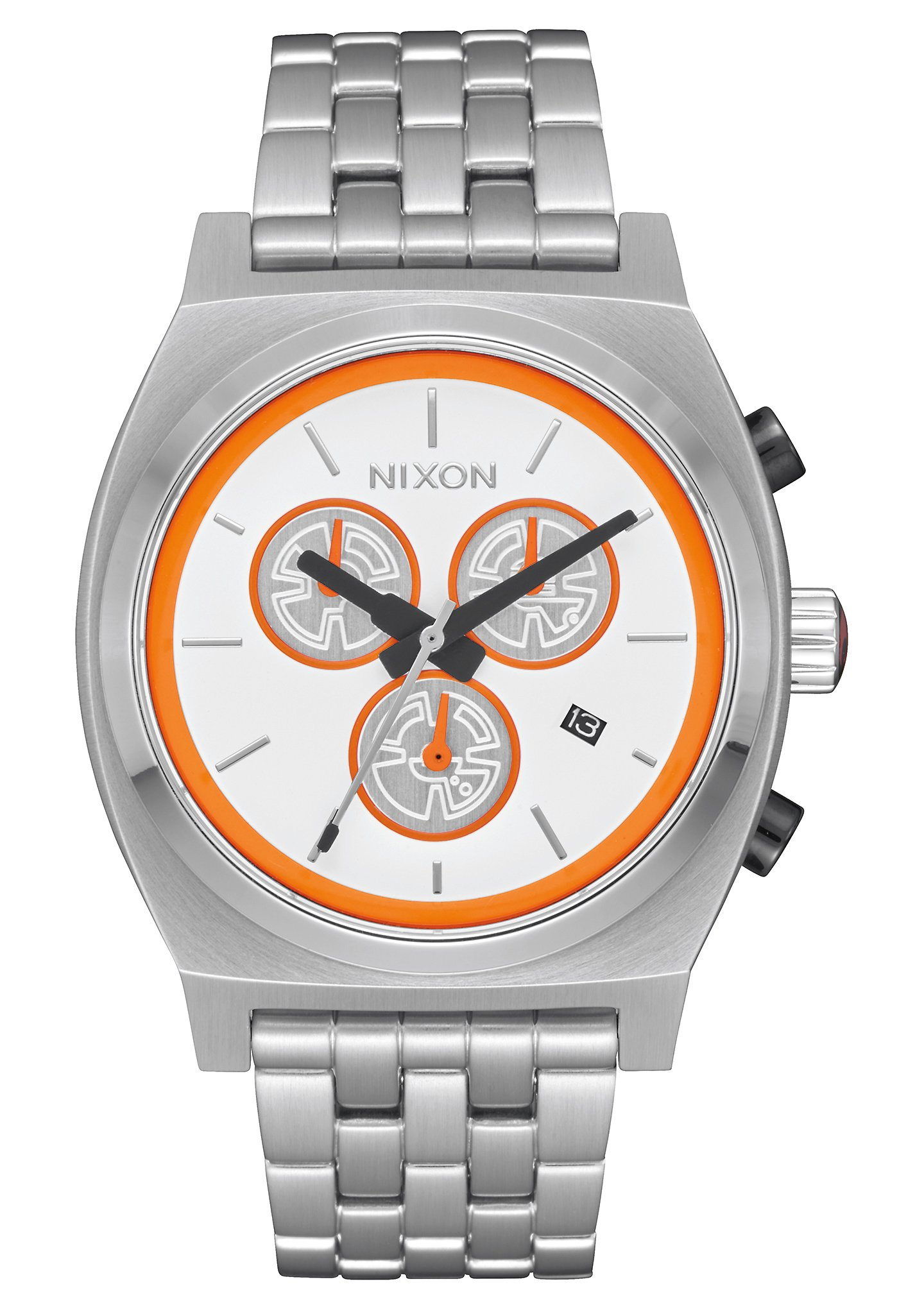 Nixon Unisex The Time Teller Chrono Watch X Star Wars Collab Bb-8 White/Orange Watch by NIXON