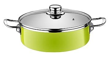 Monix Lima - Cacerola baja 20 cm de acero esmaltado verde con antiadherente Teflon® Classic