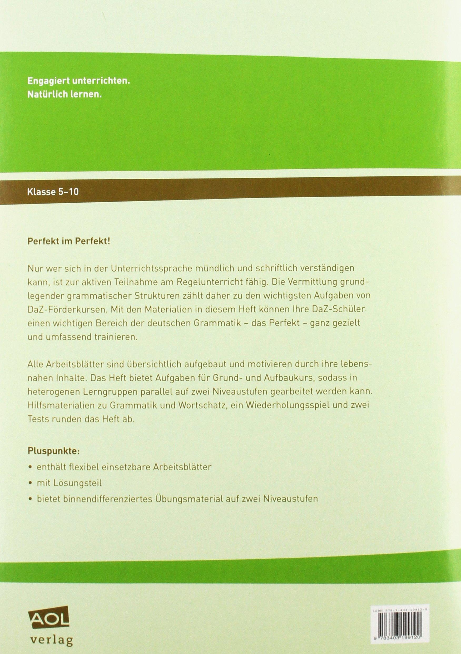 DaZ-Grammatiktrainer: Perfekt: Übungsmaterial auf zwei Niveaustufen ...