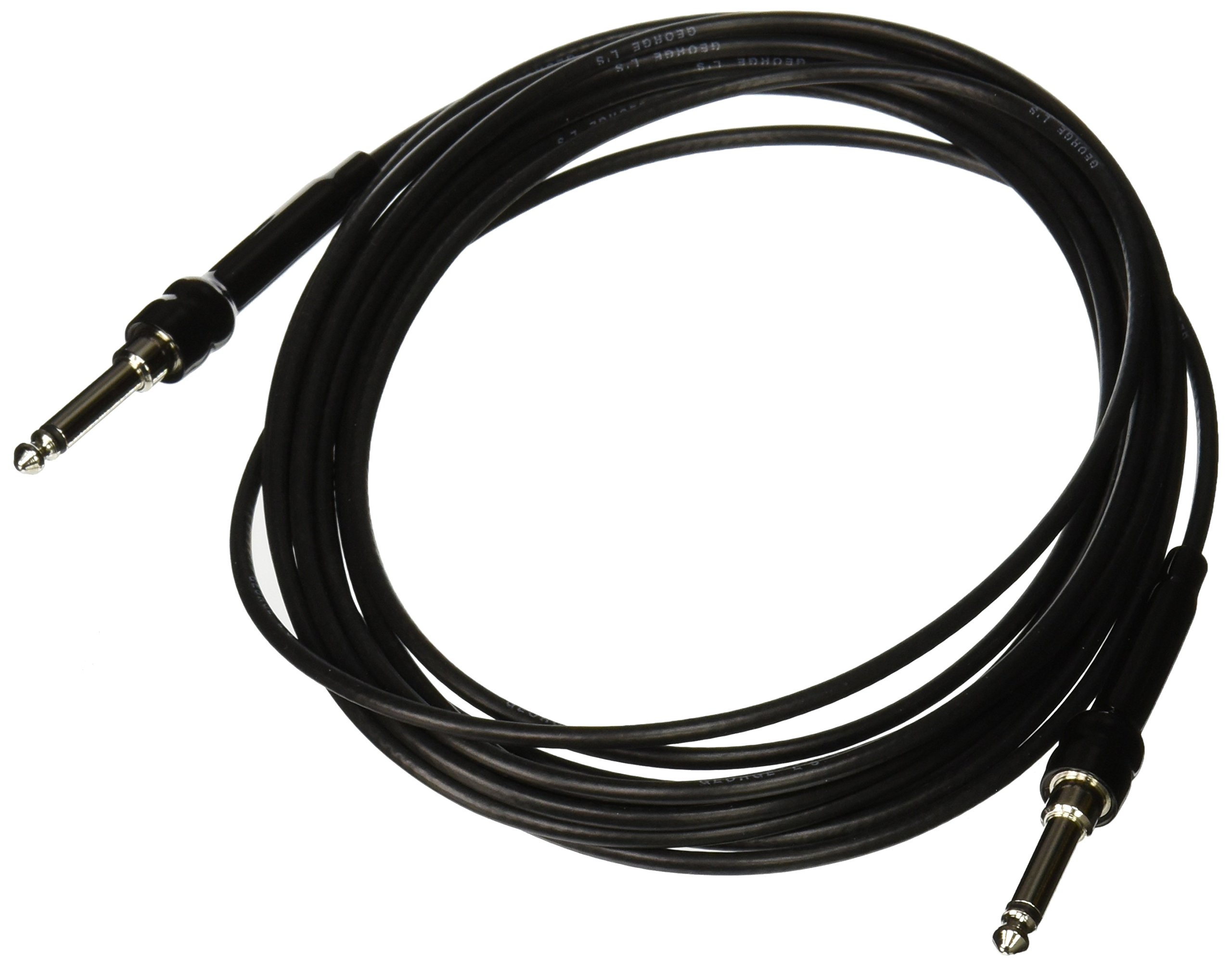George L's 155 Guage Cable with Straight Plugs (Black, 20 Foot)