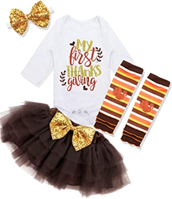 Thanksgiving Outfit Baby Girl My First Thanksgiving Turkey Print Romper Top Tutu Skirt with Leg Warme Headband Clothes