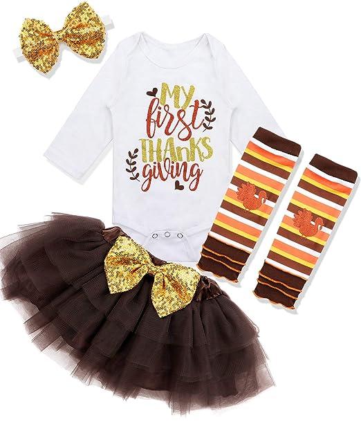 Amazon.com: Bebé niña primer día de Acción de Gracias traje ...