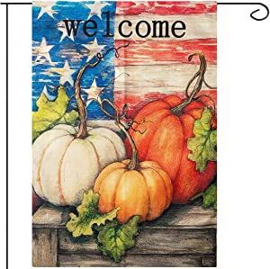 Apipi 28 x 40 Inch Welcome Fall Garden Flag- Double Sided Patriotic Decorative Thanksgiving Autumn Harvest Pumpkin House Flag, Rustic Country Burlap Garden Yard Flag for Home Seasonal Outdoor Decor