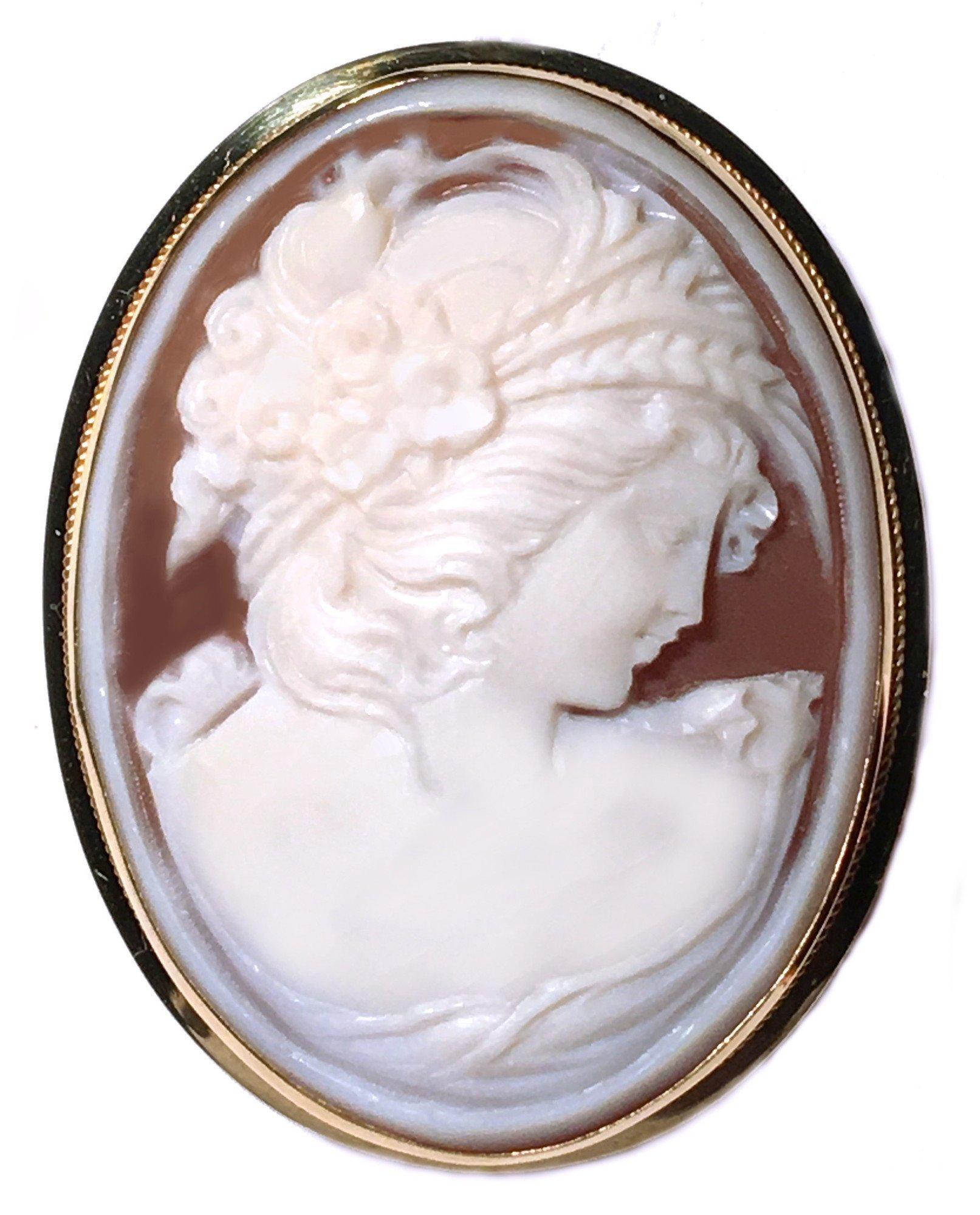 Cameo Brooch Pendant Autumn Love Master Carved, Sardonyx Shell Solid 18k Yellow Gold Italian