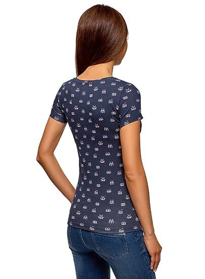 oodji Ultra Mujer Camiseta Estampada Entallada: Amazon.es: Ropa y accesorios