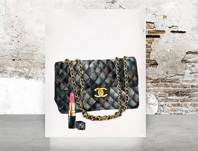 fcefc73bf86cd Amazon.com: Wall Art Watercolor Chanel Handbag Print Poster - Pop ...