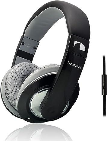 NAKAMICHI Auriculares Over-Ear NK780M con micrófono para Smartphone y Tablet, Cable Desmontable, Metallic Black Edition: Amazon.es: Electrónica