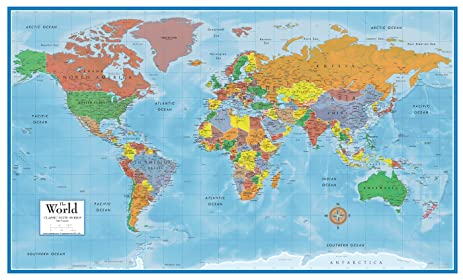 Amazon swiftmaps world premier wall map poster mural 24h x swiftmaps world premier wall map poster mural 24h x 36w gumiabroncs Images