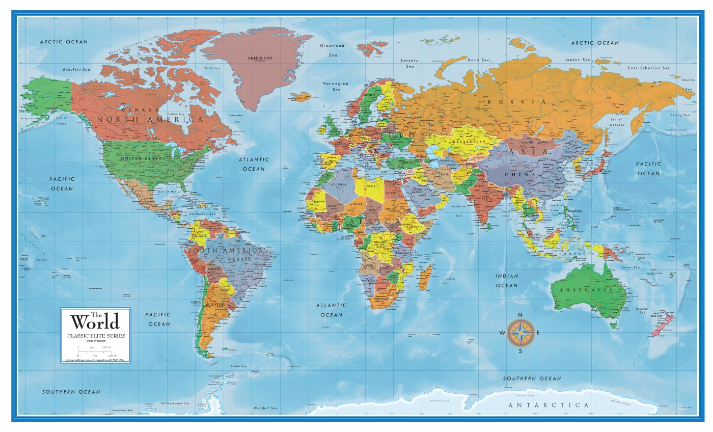 Laminated Large World Map Poster (24h x 36w ) for Home, Office ...