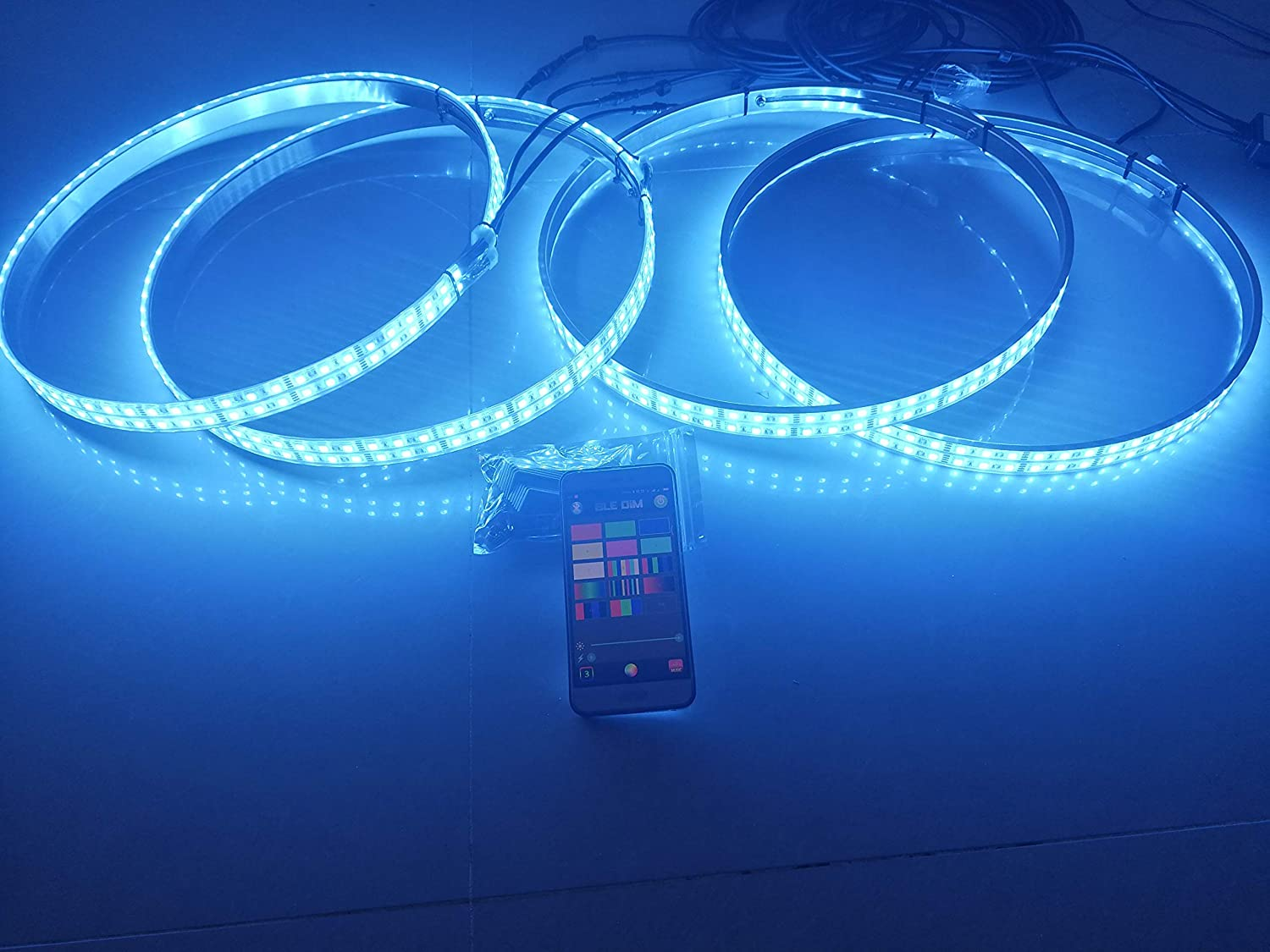 (Set4) RGB Double Row Brightest Led Wheel Ring Lights Car Tire Lights IP68 Waterproof Blue-Tooth APP Control Multi-Colors ledwheellights
