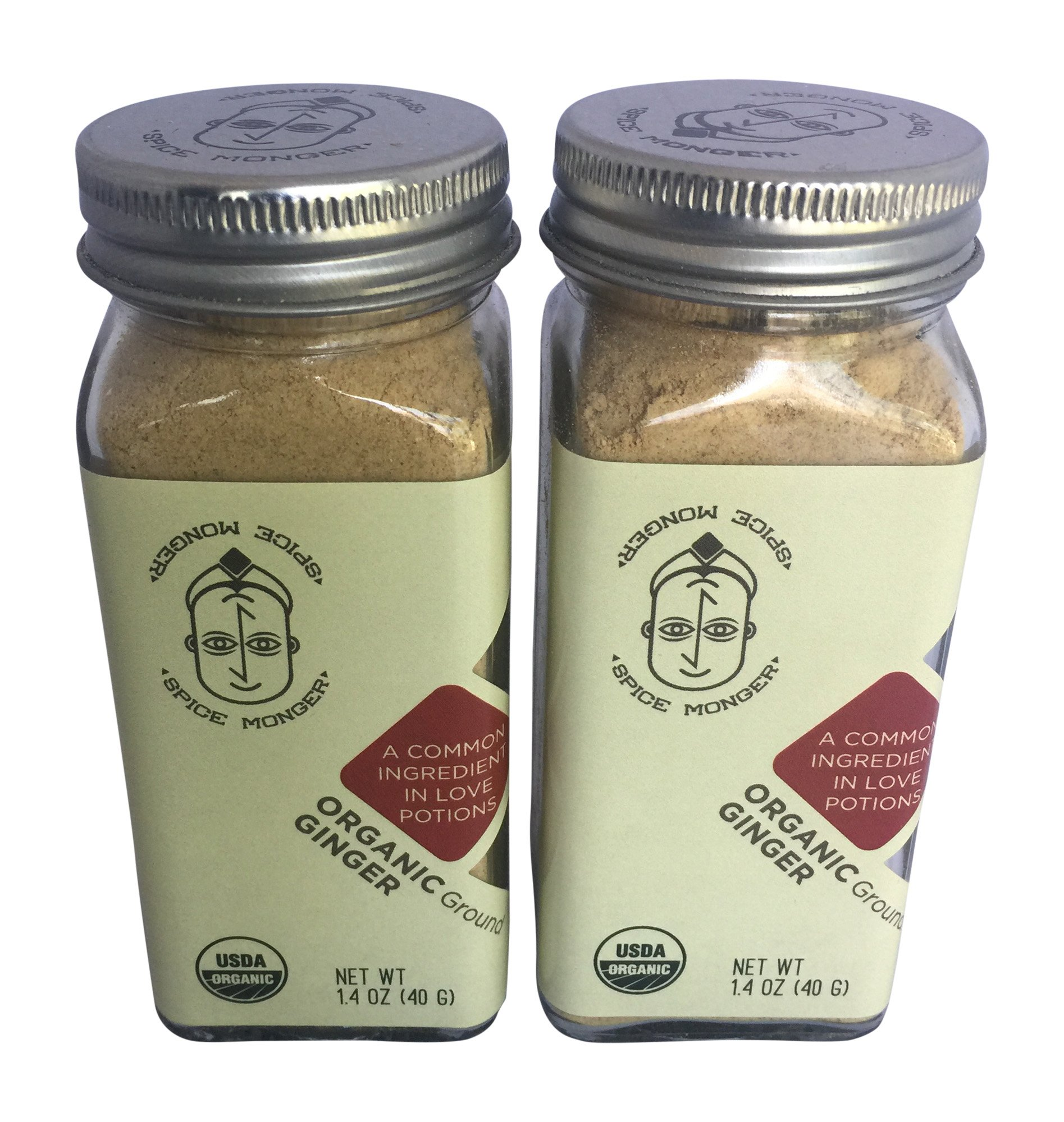 Spice Monger Organic Ginger Powder 1.4 OZ (Pack of 2) USDA Certified All Naturals Guaranteed Freshness from Malabar Coast