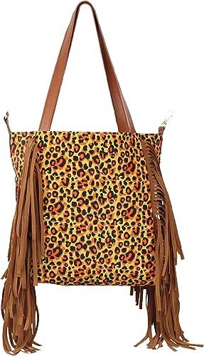 Womens Leopard Print Handbag Faux Leather Tassle Shoulder Bag Zipped