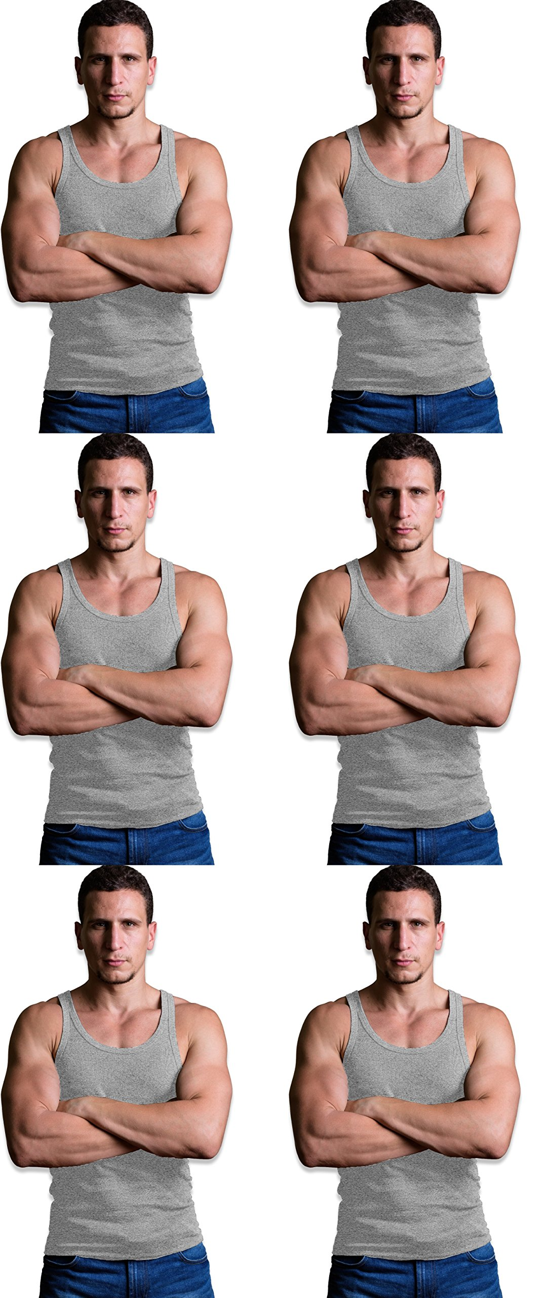 Andrew Scott Men's 6 Pack Big & Tall Man Extra Long Color Tank Top A Shirt (6 Pack - Gray, XX-Large Tall)