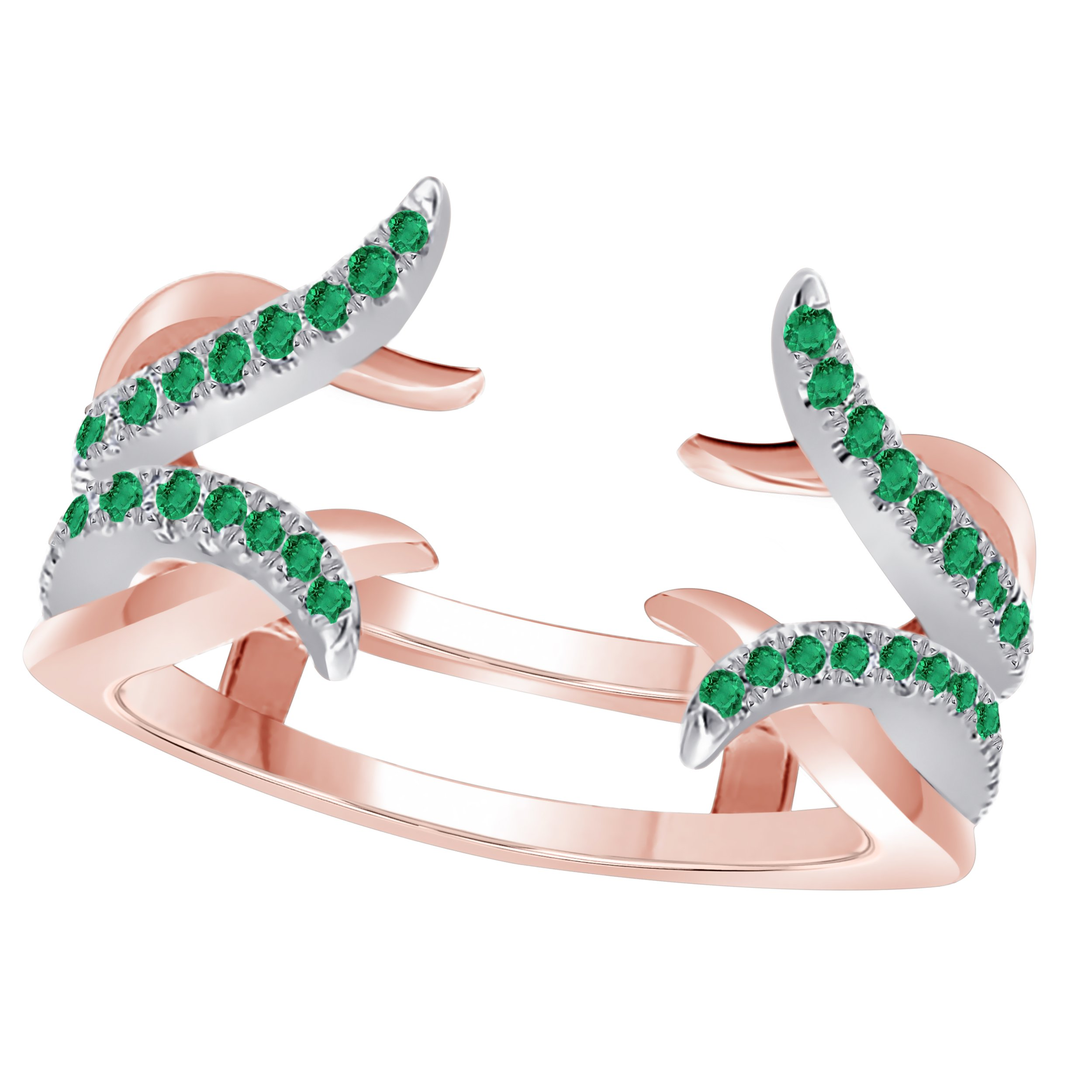 Forever Collection Sterling Silver Plated Alloy Created Green-Emerald Round Solitaire Ring Guard Wrap Enhancer Jacket Wedding Engagement Ring Size 4 to 11