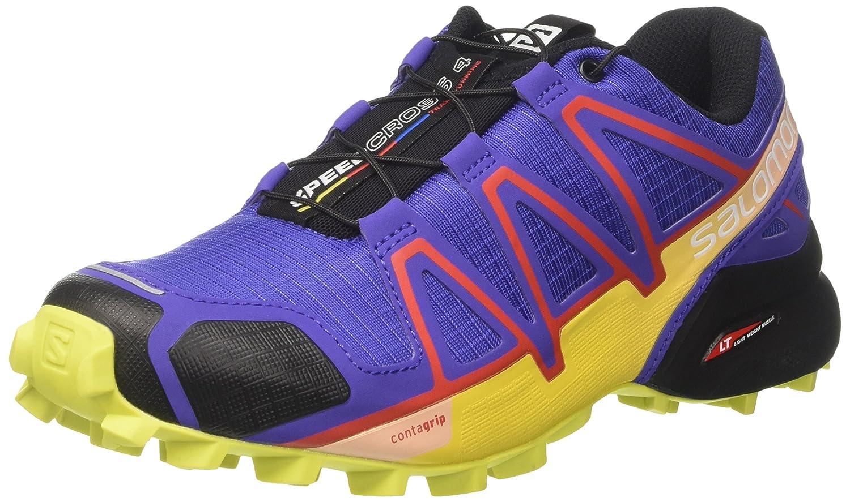 Salomon Women's Speedcross 4 W Trail Runner B01N1X3L18 5.5 B(M) US|Blue/Sulphur/Fiery Red
