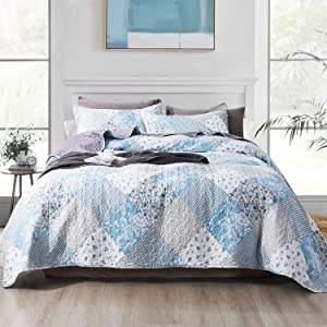 NEWLAKE Quilt Bedspread Sets-Blue Classic Floral Pattern Reversible Coverlet Set,Queen Size
