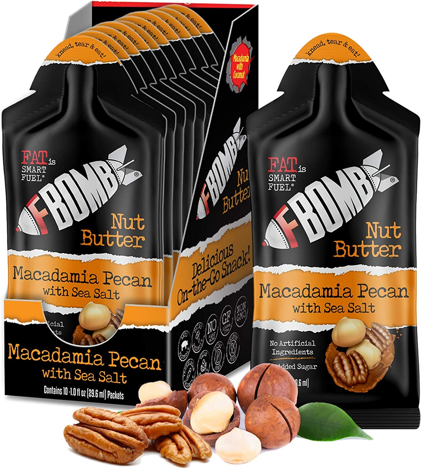 FBOMB Macadamia Nut Butter, Keto Fat Bombs: All-Natural Energy from Healthy Fats | Low Carb, Paleo, Keto Snacks with No Added Sugar | Macadamia & Pecan - 1 oz Packets