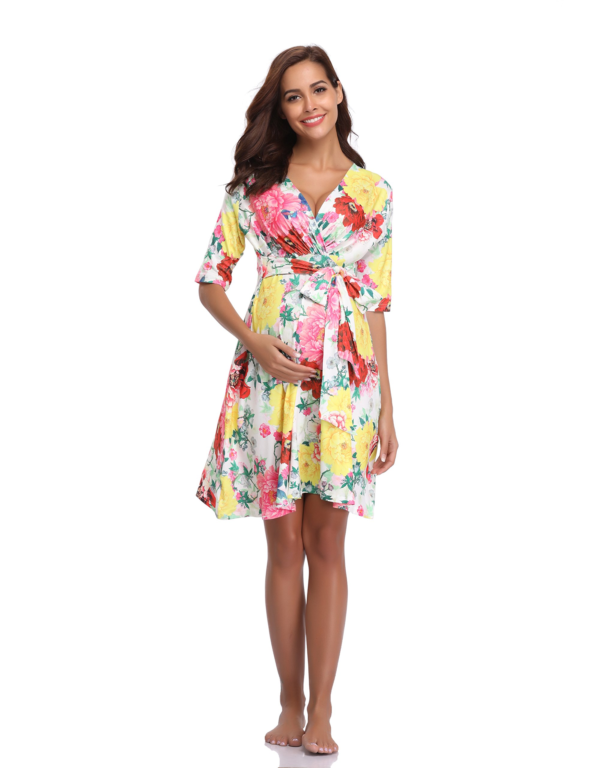 Floating Time Women's Floral Print Short Sleeve Maternity Dress(XL, 1#)