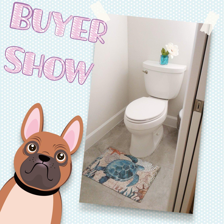 EZON-CH Modern Non Slip Watercolor Sea World Animal Home Bathroom Bath Shower Bedroom Mat Toilet Floor Door Mat Rug Carpet Pad Doormat(19.7X31.5IN)(Sea Turtle)