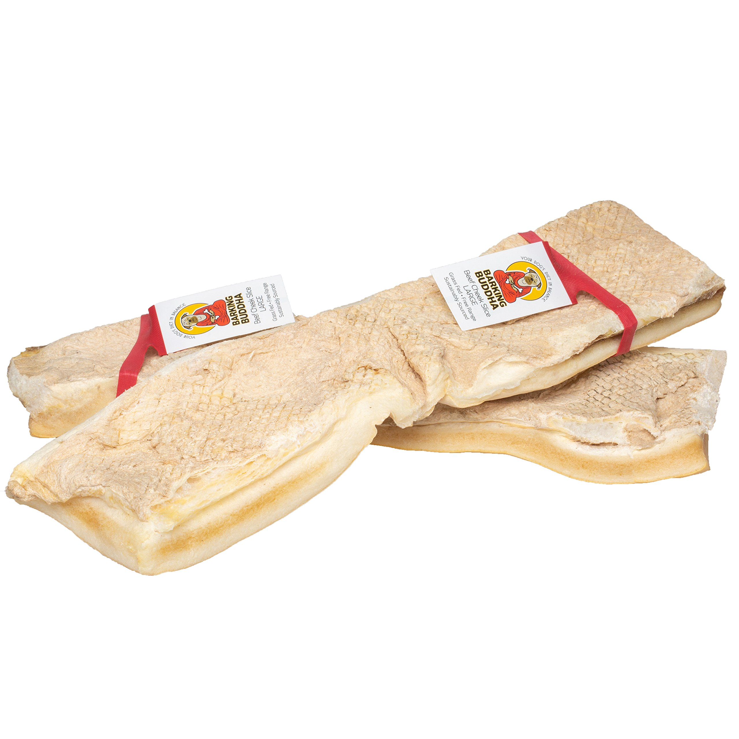 Barking Buddha Large 11'' to 12'' Beef Cheek Slices (12 Pack) Extra Thick All Natural No Additives Gluten Free