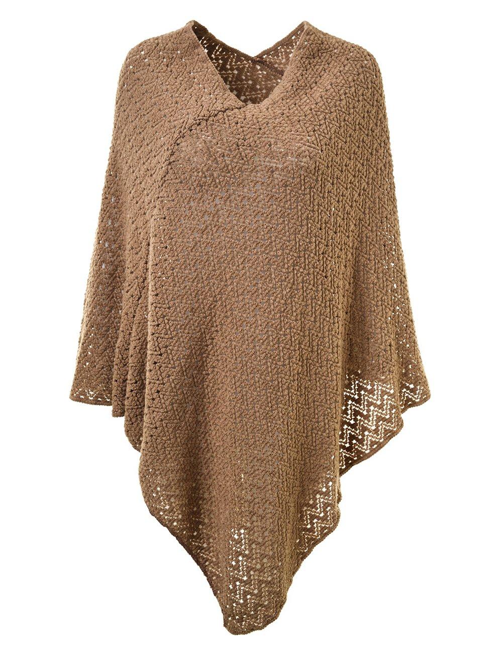 Ferand Elegant Crochet Knit V Neck Oversized Poncho Cape for Women One Size Dark Grey