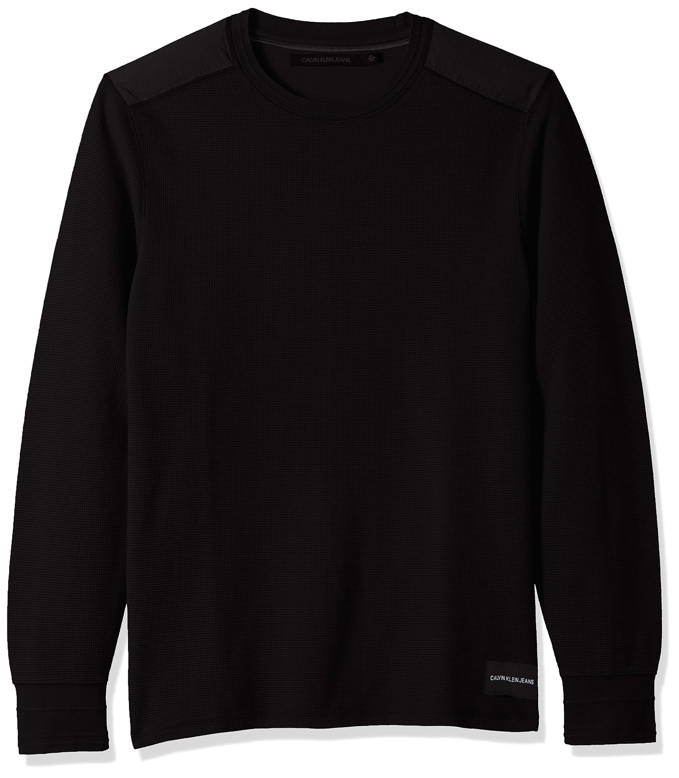 Calvin Klein Men's Long Sleeve Thermal Waffle Crew Neck Shirt, Black New, Small by Calvin Klein